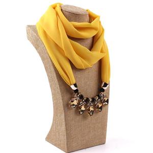 Fashion Designer Decorative Jewelry Necklace Crystal Beads Pendant Scarf Women Foulard Femme Head Scarves Hijab Scarfs