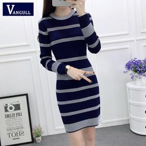 Vangull Kadınlar Örgü Çizgili BODYCON Mini Elbise Streetwear Kadınlar Uzun Kollu Elbiseler 2020 Yeni Bahar Sonbahar İnce Triko elbiseler C1009