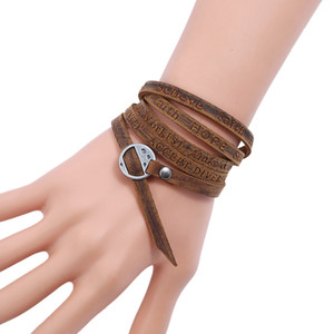 Multilayer Punk's Leather Bracelet Bangle For Men Screw Button Design Unique Wristband Pulseras Hombre Male Accessories Jewelry