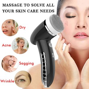 Facial Cleansing Brush Rechargeable Electric Spin Face Brush Waterproof Face Scrubber Massager with 4 Brush Heads Facial Machine