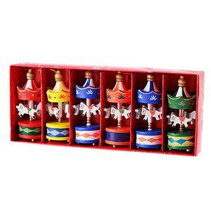 6PCS Set Christmas Wood Carousel Christmas Decoration Mini Beautiful Wooden Xmas Children Gift Toys New Year Gifts