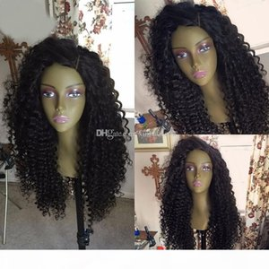8A Stock Long Kinky Curly Lace Front Human Hair Wig Virgin Brazilian Remy Hair Full Lace Wigs Bleached Knots For Black Women