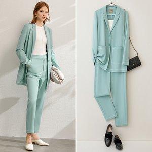 Amii minimalista primavera Office Lady Dos pedazos fijaron Mujeres Moda solapa sólidos pantalones Blazer alta cintura femenina 12060901 201008