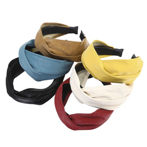 Crossed Synthetic Leather HeadbandsSoft PU Bezel Retro Style Widened Matte Hair Bands Chic Hair Accessories