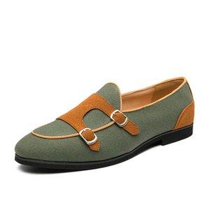 Neue Mann-beiläufige Schuh-Doppel Monk Strap Schuhe Leichte Doppelschnallen Loafers Mann Oxfords Breath Partei Formal