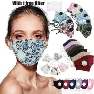 E traspirante e maschera facciale stampato Pianura Viso antipolvere Valvole maschere sono confortevoli e con la respirazione Smog-proof, Designer panno di cotone Wsng