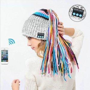Malha sem fio Bluetooth Beanie Hat Mulheres Tassel macia Hat grátis fone de ouvido Caps Inverno Outdoor Esporte Headphones Hat DDA723