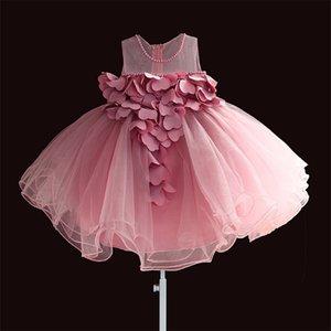 Novo Laço Meninas Meninas Dress Petal Flower Chiffon Festa Princesa Vestido 1 Anos Crianças Meninas Vestidos De Aniversário Vestido - LJ201221