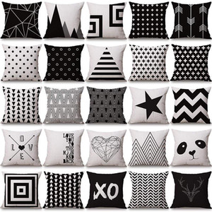 halloween Christmas black white pillowcase geometry Cushion covers Cotton linen pillow cover for Sofa bed Nordic Throw Pillow case DHC3483