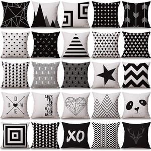 negro funda de almohada blanca cubre la geometría del amortiguador de algodón funda de almohada de lino Halloween Navidad para Sofá cama nórdica Throw Pillow caso DHC3483