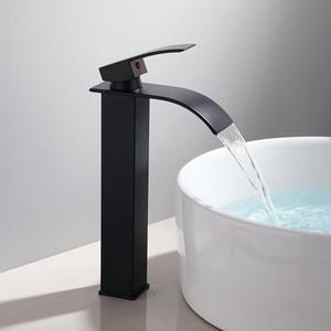 Basin Faucet Black Waterfall Faucet Mixer Tap Brass Bathroom Bathroom Basin Mixer Tap Hot and Cold Sink