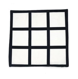 50pcs Pillow Case Sublimation 9 panel pillow cover Blank black Peach skin velvet heat transfer cushion cover throw sofa pillowcases 40*40cm