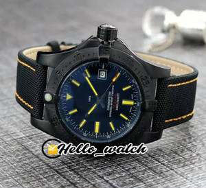 New Blackbird 44mm PVD Black Steel Case V17311101 Black Dial Automatic Mens Watch Yellow Stick Mark Nylon Strap Leather Watches Hello_Watch
