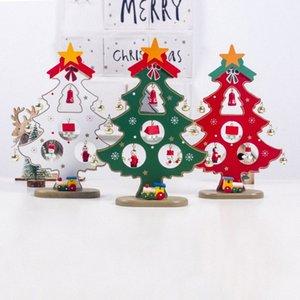 De madeira da árvore de Natal Ornamento DIY Madeira Artesanato Desk Ornamentos Crianças para festa de Natal Início presente Festival Decoração procurando 9JvP #