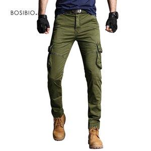 BOSIBIO New Mens Cargo Pants Army Green coton de haute qualité Homme Pantalons Slim Fit Hommes Pantalons poche 3707 201110