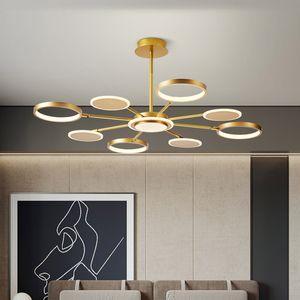 LED Chandelier for Living Room Bedroom Dining Room Kitchen Hall Decoration Modern Ring Lamp Ceiling Lighting Fixtures Gold