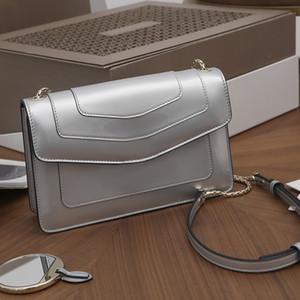 NOUVEAU Style Silver Malachite Snake avec sac à bandoulière en cuir verni 381029850 Pure Cuivre Type Matériel Pure Sacs à main véritables