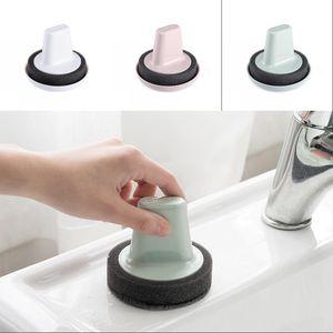 Poignée Eponge brosse Kit Maison Cuisine propre Brosses Non sale Scrub ronde en plastique Gadgets Hot Vente pratique 2 4YD G2