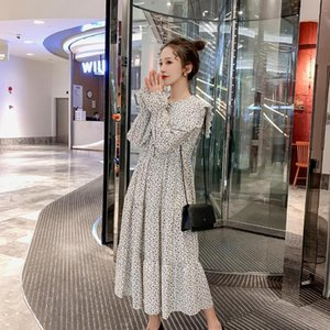 6108# Maternity Dress Spring Autumn Chiffon Long Sleeve Loose Stylish Floral Dress for Pregnant Women Mom