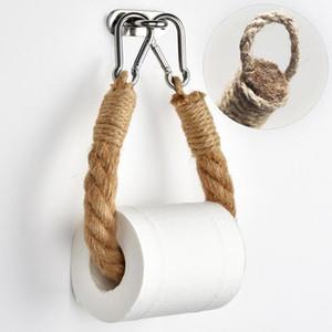 Cucina Retro rotolo di accessori di carta asciugamano appeso corda supporto di carta igienica in acciaio inox Bagno Decor Rack Supporti