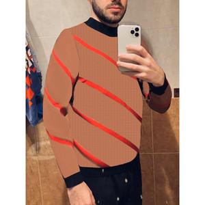 Carrete Masculina Carta Clássica e Padrão Listrado Mens Moda Tops Contrast Color Casual Venda Quente Manga Longa Homens Roupas