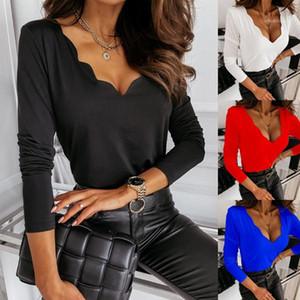 2021 Yeni Bayan Tasarımcı Tshirt Uzun Kollu Bahar Sonbahar V Boyun Tees Moda Rahat Kadın Giysileri Tops