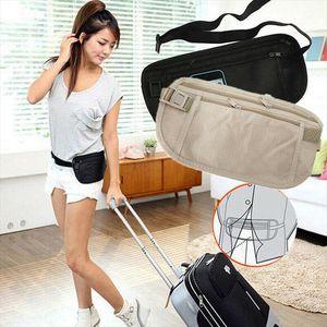 Fanny Waist Slim Pack Travel Passport Secret Security Security Zipper Bolsa Hidden Wallet Monedero Bolso Band Bag Cavab