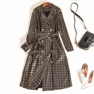 Женские траншеи для женских пальто дизайнера роскошные женщины длинные замшевые пальто двойной грудью с поясом высококачественные элегантные модные взлетно-посадочные