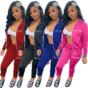 Europe and America hot New Autumn And Winterhot selling sexy fashion Long sleeve letter embroidered zipper sports suit