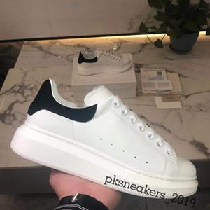 Top Quality Mens Womens Moda Branco Couro Preto Voltar Plataforma Sapatos Aparto Sapatos Casuais Lady Black Chaussures Mulheres Sapatos Brancos