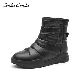 Smile Circle Snow boots Women Winter Shoes Waterproof Thick Flat platform Boots Winter Warm plush Ladies Shoes 201021