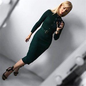 [Lakysilk] случайный вязаный свитер платье для платья зимы женщин Женщина с длинным рукавом с кнопками Sexy Lady Maxi Управление пуловеры 201022