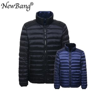 NewBang Plus 4XL Down Jacket Men Ultra Light Down Jacket Autumn Double Side Feather Reversible Parka With Carry Bag 201021