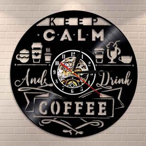 Сохраняйте спокойствие и пить кофе Винил Часов настенных Классической кофейня Логотип Стен Вход Часы Главной Art Decor часов