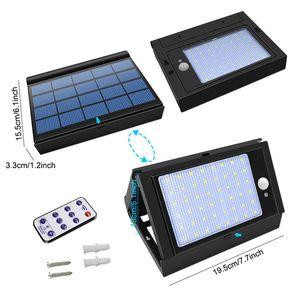 Lampe solaire Télécommande 6 Mode 48 LED Étanche PIR Capteur de mouvement pliable Mur d'urgence en plein air pliable