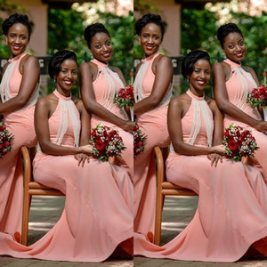 2021 African Blush Pink New Bridesmaid Dresses Wedding Guest Dress Mermaid Halter Pearls Floor Length Plus Size Country Maid of Honor Gowns