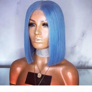 Synthetic Lace Wigs Blue Straight Hair 150 Density Bob Short Blue Synthetic Lace Front Wig Heat Resistant Short Wigs For Black Women