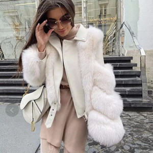 Real Fur Coat Vest Winter Jacket Women Natural Fox Fur Genuine Leather Outerwear Streetwear Thick Warm Fashion Locomotive 201103