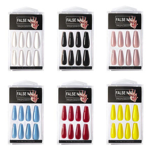 20pcs box Long French False Nails Solid Color Ballet Nail Tips Display Press On Nails Fake Nail Manicure With Glue Tools