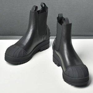 Ромбическая цепочка дизайнер натуральные кожаные женские сапоги роскошные сплайсинг среднего каблука высокого качества короткими каблуками ботинки ботинки
