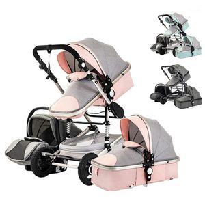Çok fonksiyonlu üç-in-one hafif dört tekerlekli bebek arabası bebek beşiği araba koltuğu yıkanabilir1
