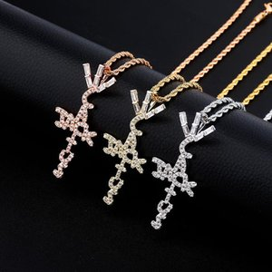 Hip Hop Micro Paved Cubic Zirconia Bling Iced Out Cactus Jack Cross Pendants Necklace for Men Rapper Jewelry
