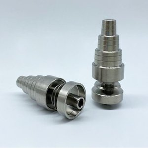 Universal 6 In 1 Titanium Nail 10 14 18mm Female And Male Domeless Dab Nail Carb Cap For All Oil Rigs Glass Water Bongs