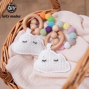 Faire 1Pc bébé hochet jouets coton crochet nuage perles de nuage hêtre bois dentition bracelet bracelet de nuage de bois