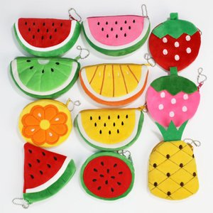 Creative Fruit Plush Coin Purse Cartoon Children's Zipper Coin Purse Portable Storage Bag Keychain Gift Free DHL