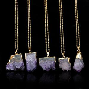 Кулон Ожерелья Золото Цвет Друзы Кристалл Натуральное Камень Ожерелье Женщины Красочные Нерегулярные Формы Розовые Ювелирные Изделия