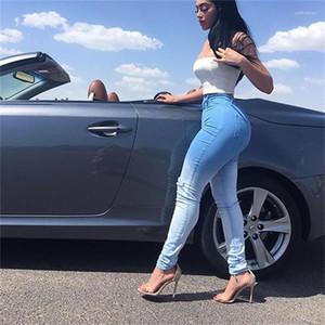 Löcher dünne Jeans Slim Fit-Bleistift-Hosen Frauen Gefärbte Jeans Blau Weiß Patchwork