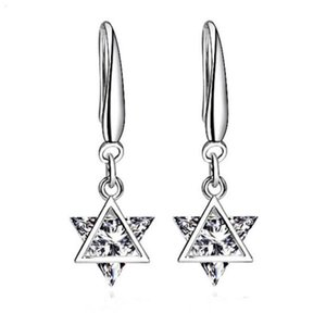 New Trendy Silver Color Clear Crystal Stud Earrings Zirconia Geometric Triangles Dangle Simple Earrings For Women Jewelry
