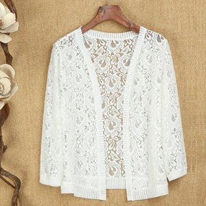 2021 New Fashion Summer Women Hollow Out Lace Crochet Blouses Sexy Long Sleeve Cardigan Top Sun Protection Shirt Plus Size 5XL
