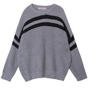 Otoño nuevo kinttwear tops para hombres coreano suelto manga larga tamaño grande cuello redondo suéter jerseys vintage gris